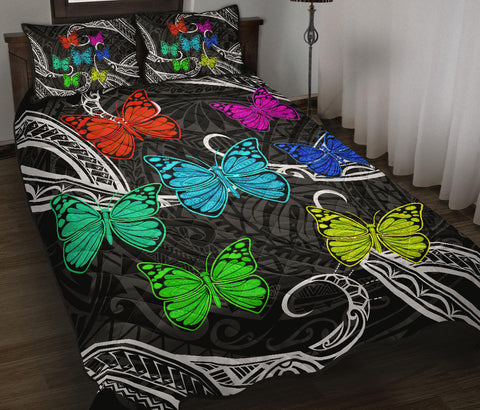 Hawaii Polynesian Butterflies Quilt Bed Set
