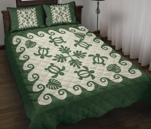 Hawaiian Quilt Bed Set Turtle Pattern - Green