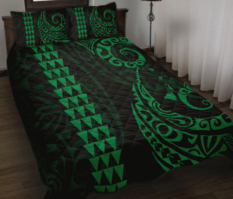 Hawaii Polynesian Quilt Bed Set Green - AH J4 - Alohawaii