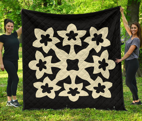 Hawaiian Premium Quilt Royal Pattern - Beige - A1 Style