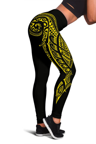 Hawaii State Tattoo Swirly Polynesian Yellow Kanaka Women's Leggings - AH - JG1 - Alohawaii