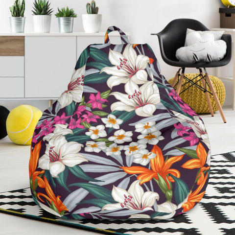 Hawaii Seamless Exotic Pattern With Tropical Leaves Flowers Bean Bag Chair - AH - J71 - Alohawaii