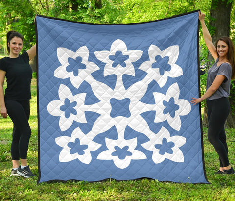 Hawaiian Premium Quilt Royal Pattern - Pastel Blue - A1 Style