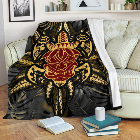 Image of Hawaii Turtle Polynesian Tropical Gold Premium Blanket