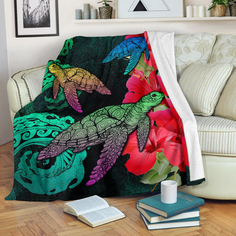 Hawaii Turtle Wave Hibiscus Premium Blanket
