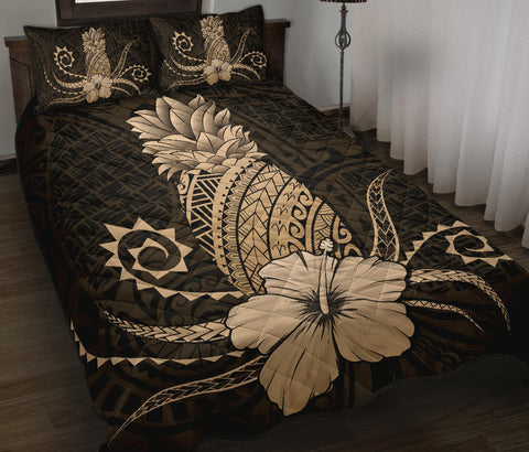 Hawaii Polynesian Pineapple Hibiscus Quilt Bed Set - Zela Style Gold