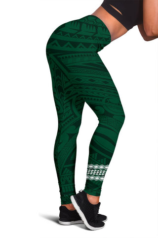 Hawaii Warrior Helmet Football Green Kakau Women's Leggings - AH - J1 - Alohawaii