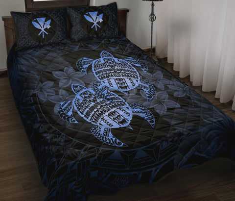 Alohawaii Quilt Bed Set - Turtle Strong Pattern Hibiscus Plumeria Blue