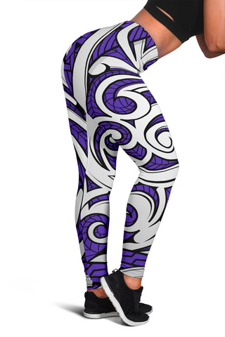 Polynesian Maori Ethnic Ornament Violet Hawaii Women's Leggings AH J2