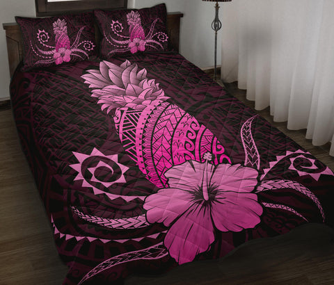 Hawaii Polynesian Pineapple Hibiscus Quilt Bed Set - Zela Style Pink