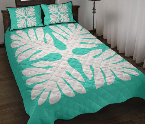 Hawaiian Quilt Bed Set Royal Pattern - Turquoise - P1 Style - AH - J3