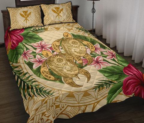Alohawaii Quilt Bed Set - Turtle Quilt Bed Set Strong Pattern Hibiscus Plumeria