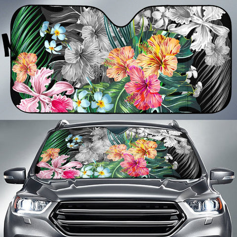 Hawaii Tropical Plumeria Hibiscus Car Sun Shade - AH - J5 - Alohawaii