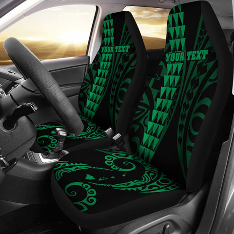 Personalized Hawaii Car Seat Covers Kakau Large Polynesian Green