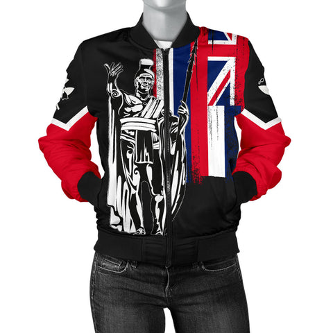 Hawaii King Flag Women's Bomber Jacket - AH J4 - Alohawaii