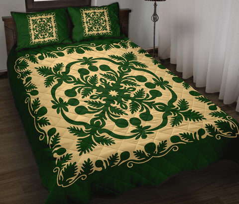 Image of Hawaiian Quilt Bed Set Royal Pattern - Emerald Green - AH - J6 - Alohawaii