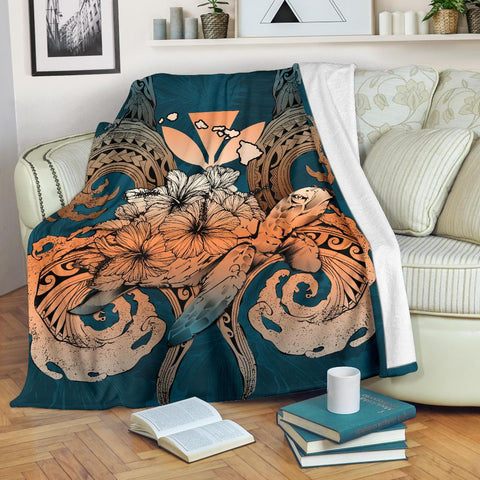Hawaii Turtle Wave Polynesian Premium Blanket