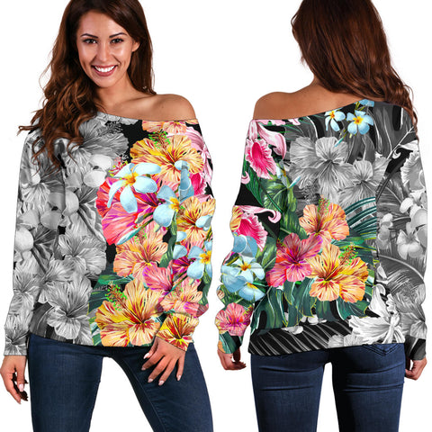 Image of Hawaii Forest Tropical Flower Women's Off Shoulder Sweater - AH - J5 - Alohawaii