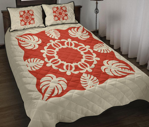 Hawaiian Quilt Bed Set Royal Pattern - White Mix Red
