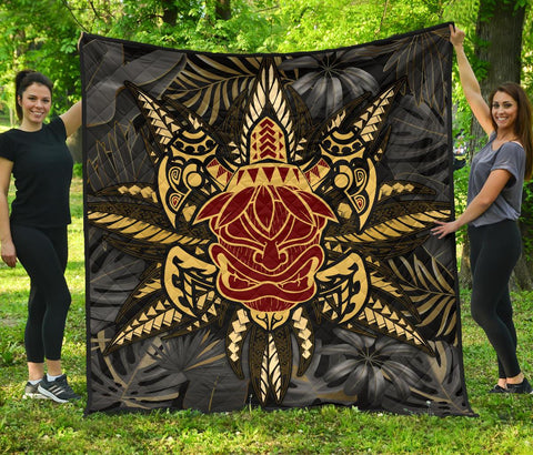 Image of Hawaii Turtle Polynesian Tropical Gold Premium Quilt