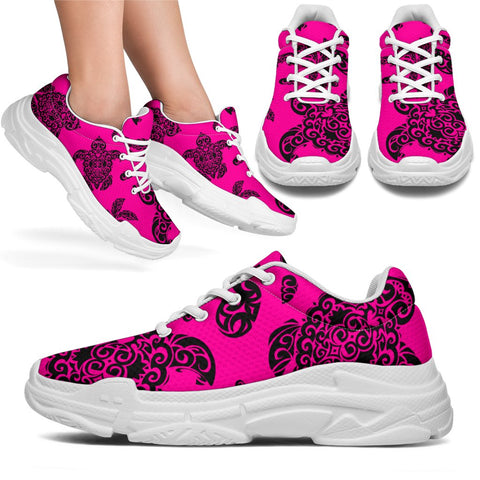 Polynesian Turtle Palm And Sea Pebbles Pink Chunky Sneakers - AH - J11