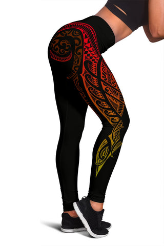 Hawaii State Tattoo Swirly Polynesian Women's Leggings