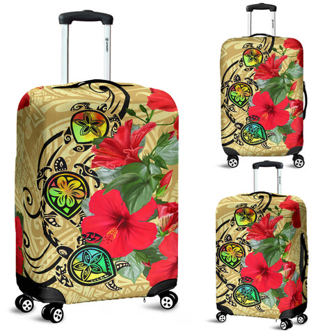 Hawaiian Marble Turtles Hibiscus Luggage Covers - Alohawaii.co