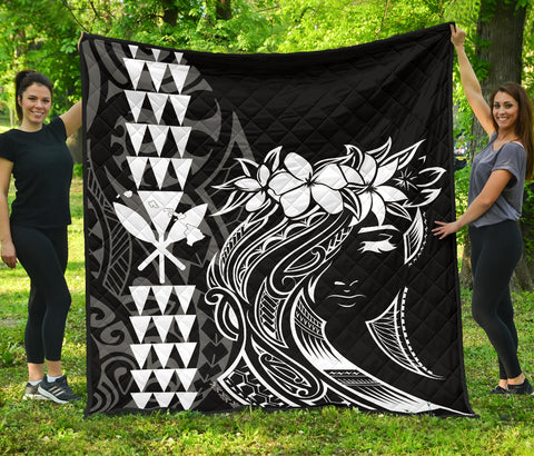 Image of Hawaii Map Kanaka Polynesian Hula Girl Premium Quilt