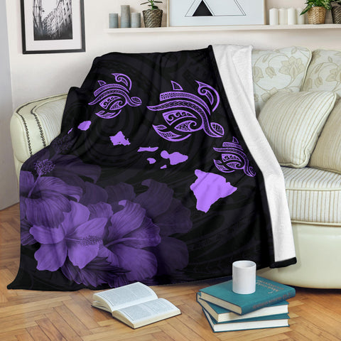 Image of Hawaii Hibiscus Map Polynesian Ancient Purple Premium Blanket
