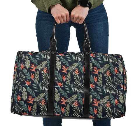 Tropical Strelitzia Black Hawaii Travel Bag