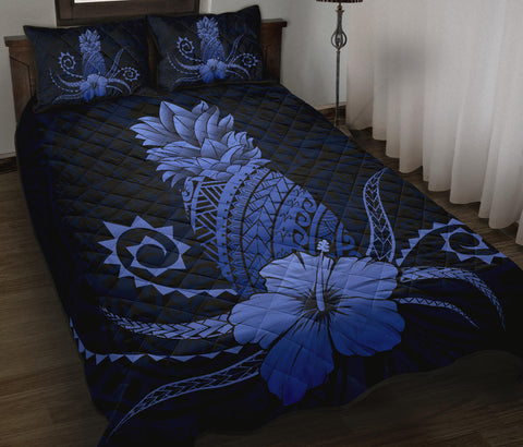 Image of Hawaii Polynesian Pineapple Hibiscus Quilt Bed Set - Zela Style Blue - AH - J4 - Alohawaii