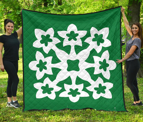 Hawaiian Premium Quilt Royal Pattern - Green And White - A1 Style