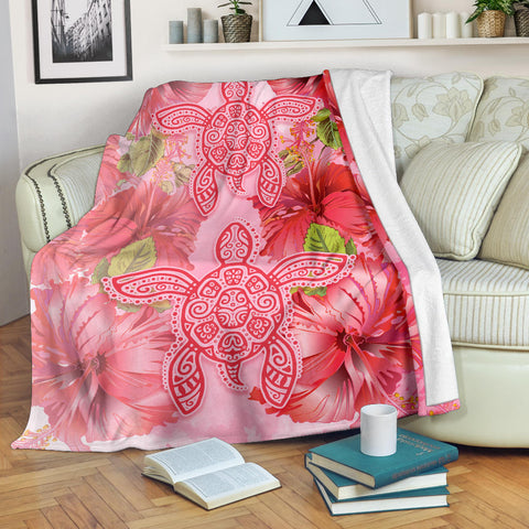 Hawaii Turtle Hibiscus Premium Blanket