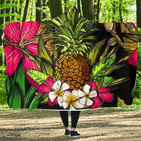 Hawaii Tropical Flowers Pineapple Hooded Blanket