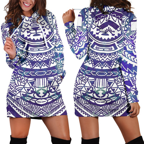 Image of Polynesian Tribal Hoodie Dress Blue - AH - J7 - Alohawaii