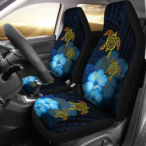 Hawaii Car Seat Cover - Turtle Hibiscus Pattern Hawaiian Car Seat Cover - Blue