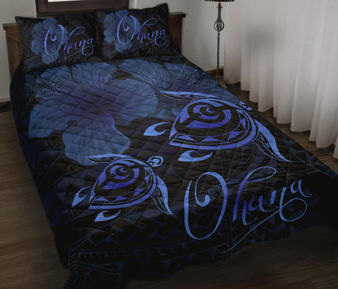 Hawaii Turtle Ohana Hibiscus Poly Quilt Bed Set Blue - AH - J4 - Alohawaii
