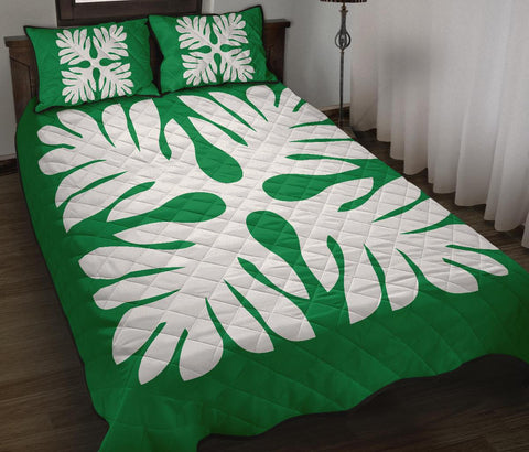 Hawaiian Quilt Bed Set Royal Pattern - Green - P1 Style - AH - J3