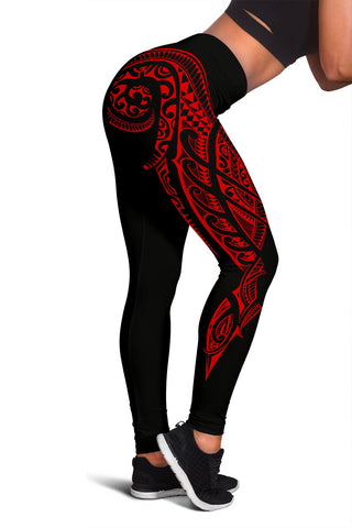 Image of Hawaii State Tattoo Swirly Red Polynesian Women's Leggings