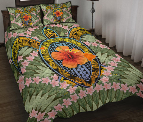 Hawaii Turtle Map Plumeria Hawaiian Tropical Quilt Bed Set - Candy Style - AH - J3