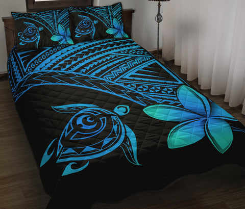 Image of Hawaiian Turtle Plumeria Polynesian Quilt Bedding Set Blue - AH J0 - Alohawaii