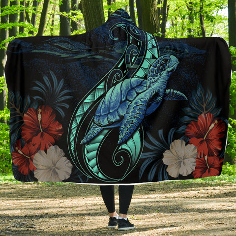 Hawaii Polynesian Honu Sea Hibiscus Hooded Blanket - AH - J4 - Alohawaii