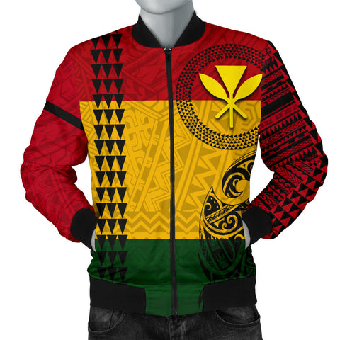 Image of Hawaii Kanaka Flag Polynesian Men's Bomber Jacket - AH - J6 - Alohawaii