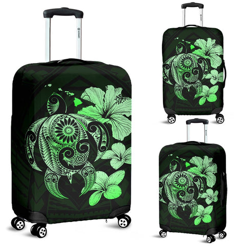 Hibiscus Plumeria Mix Polynesian Green Turtle Luggage Covers