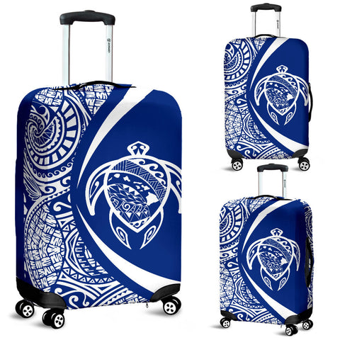 Hawaii Turtle Map Polynesian Luggage Cover - White And Blue - Circle Style - AH J9 - Alohawaii