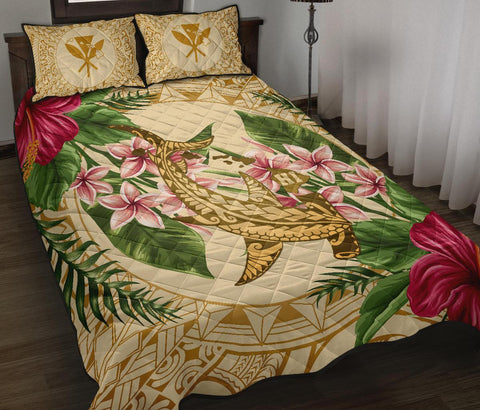 Image of Alohawaii Quilt Bed Set - Hammerhead Shark Quilt Bed Set Strong Pattern Hibiscus Plumeria
