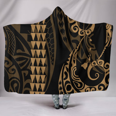 Image of Hawaii Kakau Gold Polynesian Hooded Blanket - AH - J1 - Alohawaii
