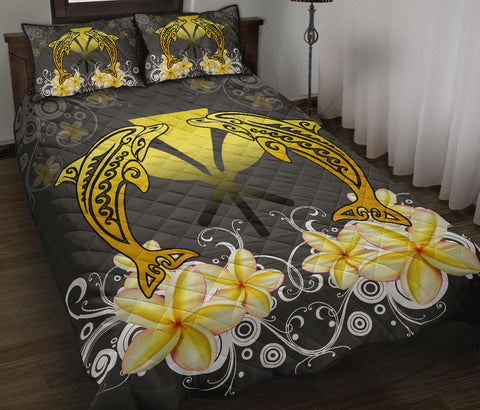 Image of Hawaii Kanaka Dolphin Yellow Plumeria Polynesian Quilt Bed Set - Bustling Style - AH - J2