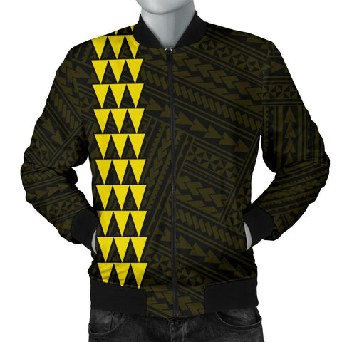 Hawaii Kakau Polynesian Three Turtles Map Personalized Men's Bomber Jacket - Yellow - AH - J6 - Alohawaii