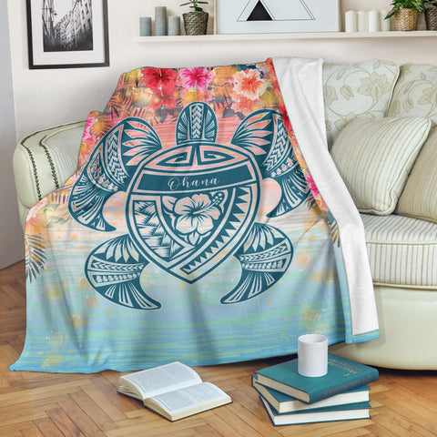 Hawaii Turtle Ohana Stary Night Hibiscus Premium Blanket